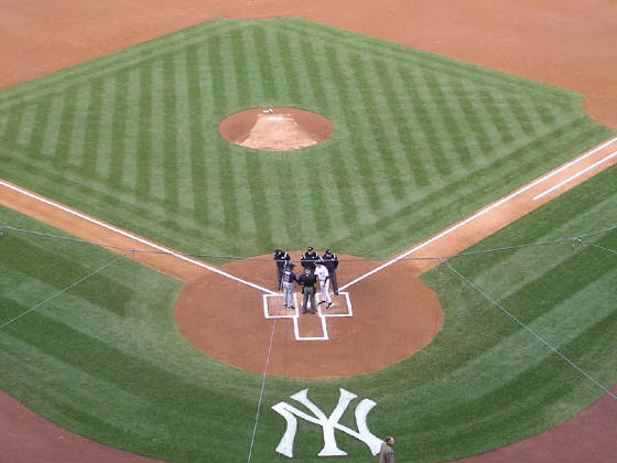 Exchanging the Line ups - pre game Yankee Stadium